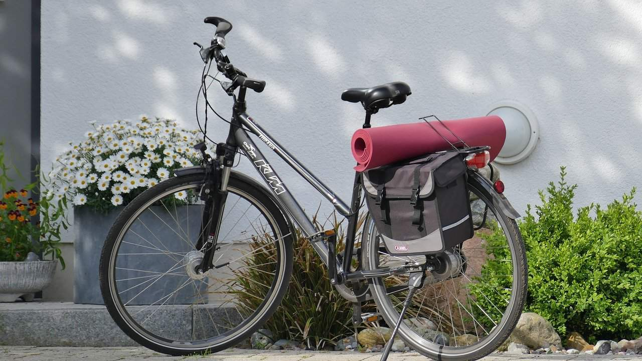 Bike and yoga mat