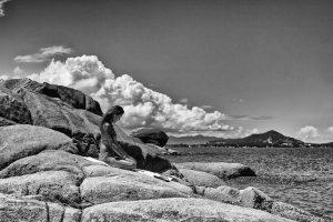 meditate on the rocks